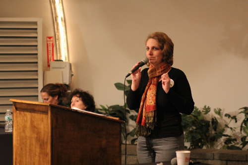JENNIFER GUSTAVSON PHOTO | Social worker Mary Calamia speaking at Wednesday night's Common Core public forum.