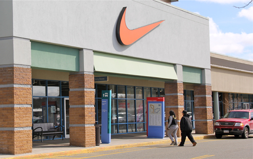 Shoppers at the Nike store in Tanger 2 Saturday. (Credit: Carrie Miller)
