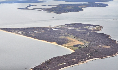 TIM KELLY FILE PHOTO | Plum Island as seen from the east, with Orient point and the rest of Southold Town and other parts of the East End in the background.