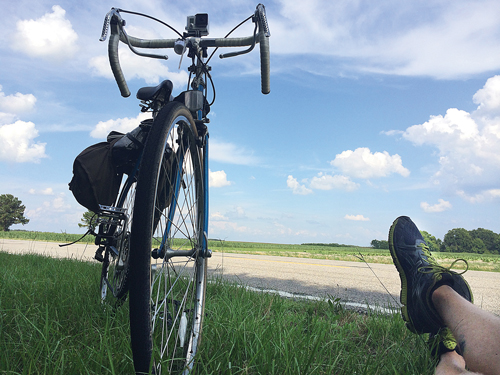 Michael Kringle takes a break near a field outside Bennettsville, S.C. It was 95 degrees that day. (Credit: Michael Kringle)