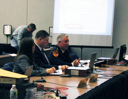 BETH YOUNG PHOTO | Police Chief James Burke (right) and Parents for Megan's Law director Laura Ahearn (left) before the public safety committee this morning.