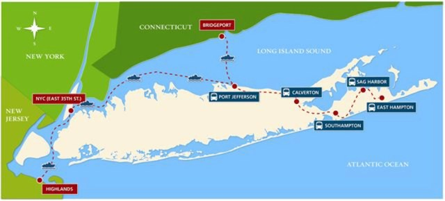 [Click to enlarge] Pictured is a map of all the weekend ferry and bus trips provided by Sea Jitney. (Credit: Courtesy)