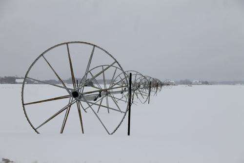 Snow covers a farm on Sound Avenue. Paul Squire photo.