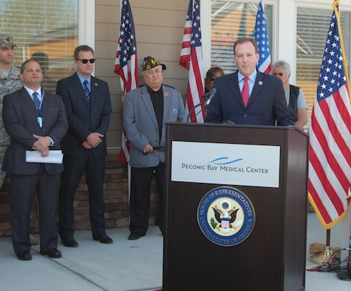 Congressman Lee Zeldin spoke at Monday's press conference. (Cyndi Murray photo)