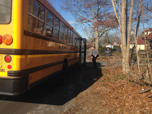 Mercy students were transported on buses to Riverhead High School. (Credit: Cyndi Murray)