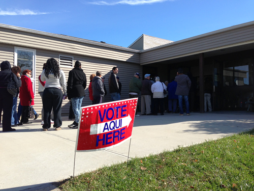 PAUL SQUIRE FILE PHOTO   Lines at the John Wesley Village polling place.