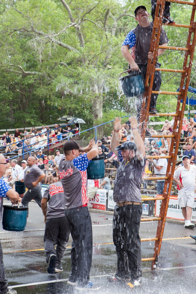 Riverhead Ironmen in bucket brigade competition.