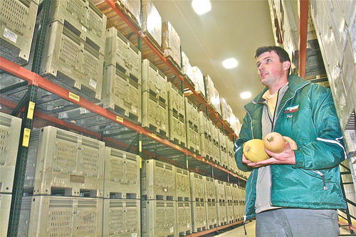BARBARAELLEN KOCH PHOTO | J. Kings's operation manager Pat Dean in Riverhead in the climate-controlled warehouse.