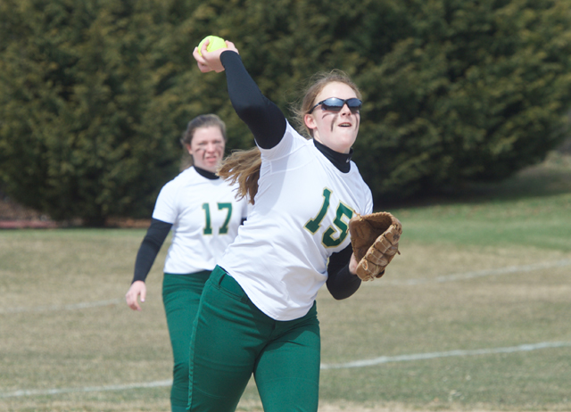 McGann-Mercy pitcher Nicole Gravagna throws out a runner at first base Monday. (Credit: Robert O'Rourk)