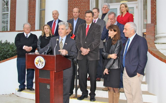 Suffolk County Executive Steven Bellone speaks during the press conference at Southampton Town Hall Wednesday afternoon.  (Credit: Carrie Miller)