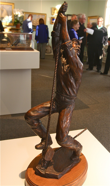 "'Chanty Man,' $5,000. This 25"" x 8"" x 5"" bronze sculpture by Jim Gray is of a chanty man, whose job was to call out the sing-song rhythm to which ship crews pulled in unison. (Credit: Barbaraellen Koch)"