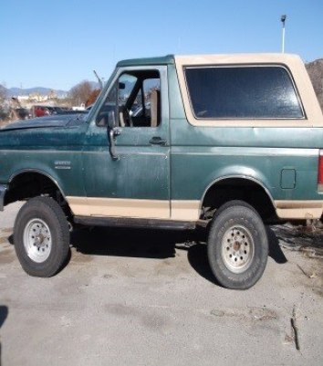 The 1990 Bronco the suspects were driving when they were stopped by Riverside PD.