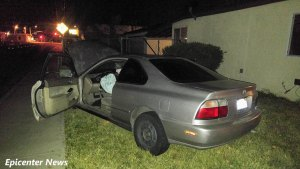 The mangled wreckage of the stolen vehicle, following the termination of a high-speed pursuit.