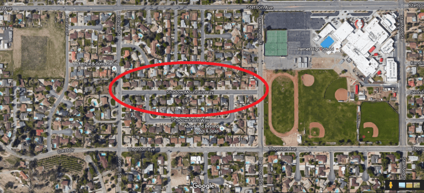 Area showing residential neighborhood where home invasion robbery occurred.