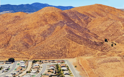 Westbound Aerial view where this morning's rescue of a critically injured hiker occurred.