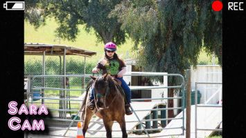 Sara goes for a ride during her visit to Invicta Farms