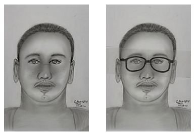 Composite sketch images of possible suspect from Feb. 20's fatal shooting incident.