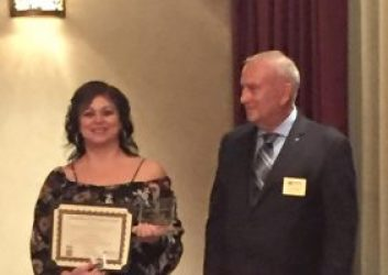 Dispatcher Valerio accepting her runner up award for Outstanding Performance by an Individual Dispatcher