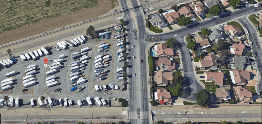 Northbound aerial view showing the intersection near where the rollover collision occurred, as well as the RV storage facility to the left side of the picture.