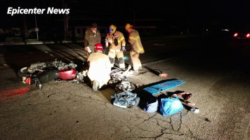 The downed rider was transported by ambulance to a local area hospital after the collision. Hayes / Epicenter News photo
