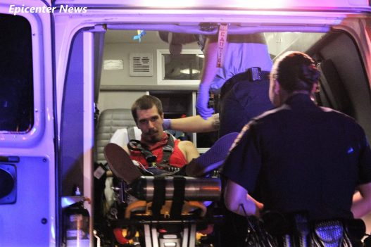 The alleged suspect was transported to a local hospital after the fiery wreck. William Hayes / Epicenter News