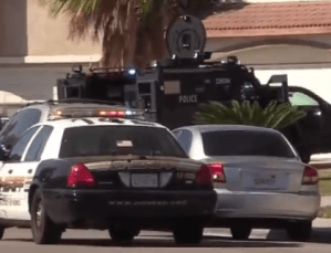 A Tactical Rescue Vehicle from Corona PD was called to the residence to assist deputies and officers involved in the incident. William Hayes photo
