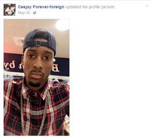 "A screenshot from Griffin's Facebook page, ""Ceejay Forever-foreign,"" which officials allege he used to recruit young girls."
