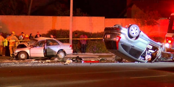 RIVERSIDE: Four injured, one critically, in head-on, rollover wreck