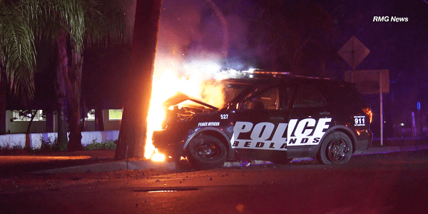 Redlands officer seriously injured in fiery wreck