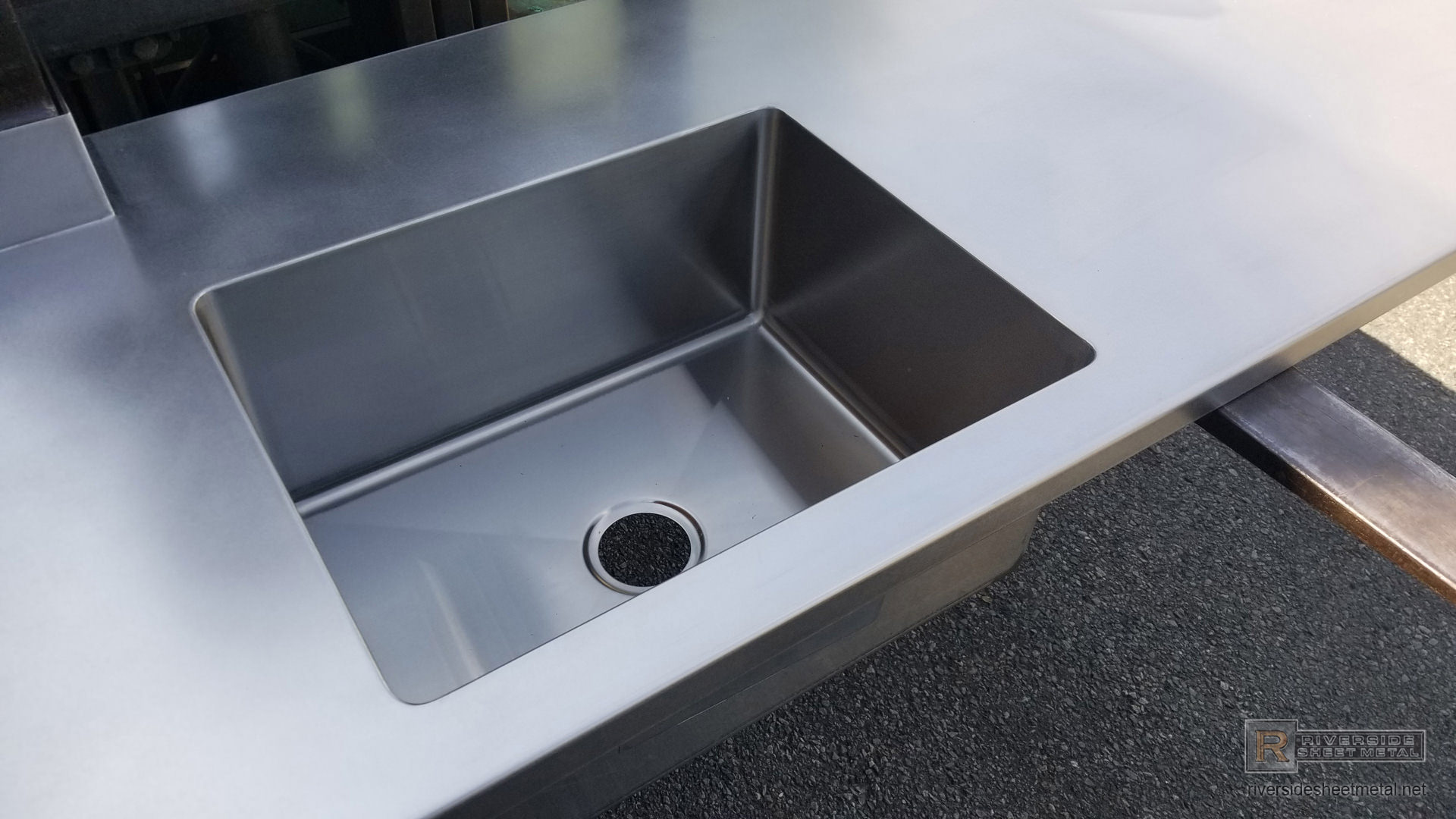 Satin Finish Stainless Steel Counter Top With Integrated Sink