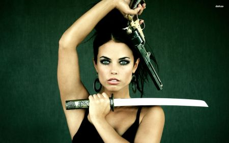 17161-brunette-with-a-gun-and-a-sword-1920x1200-girl-wallpaper