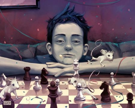 a-fantasy-photoshop-painting-in-which-a-boy-plays-chess-with-mice-while-confetti-and-streamers-fall