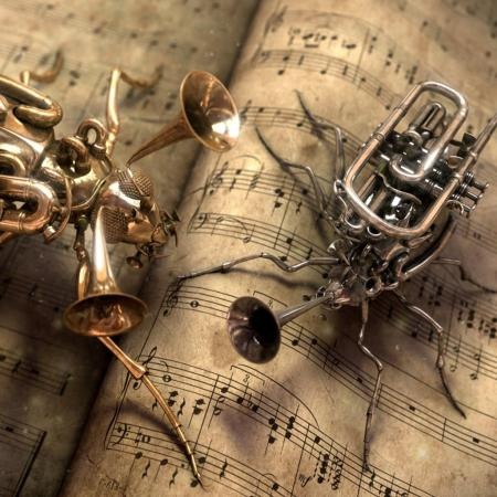 trumpet-and-cornet-as-bugs-shape-funny-picture