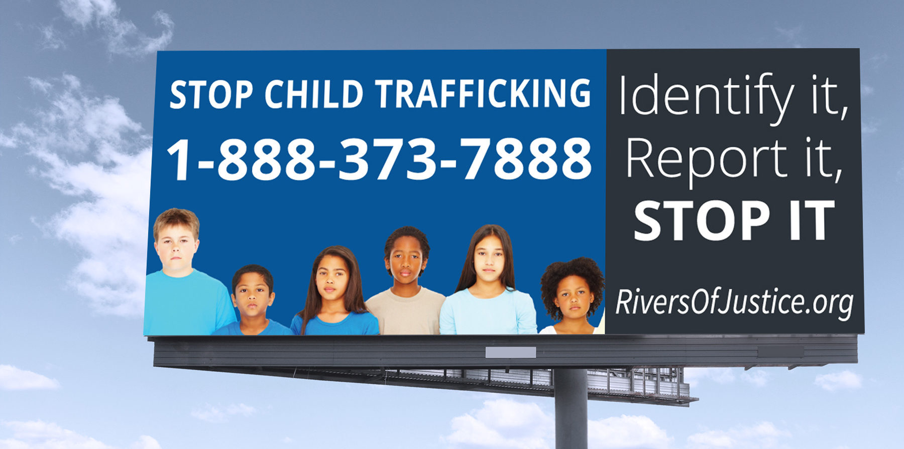 billboard with child trafficking hotline