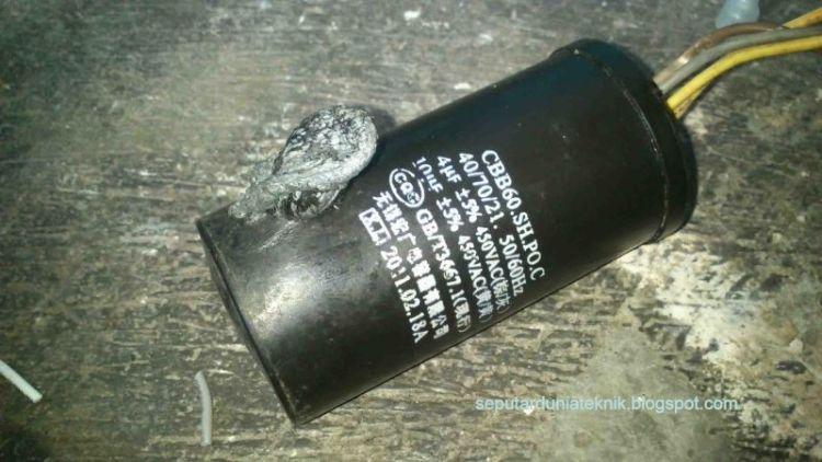 Gambar kapasitor terjadi kerusakan bakar