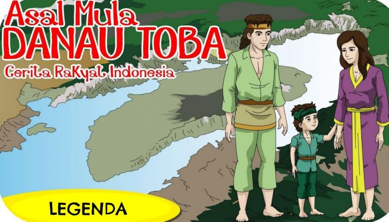 Ilustrasi gambar cerita Danau Toba Sumatera Utara