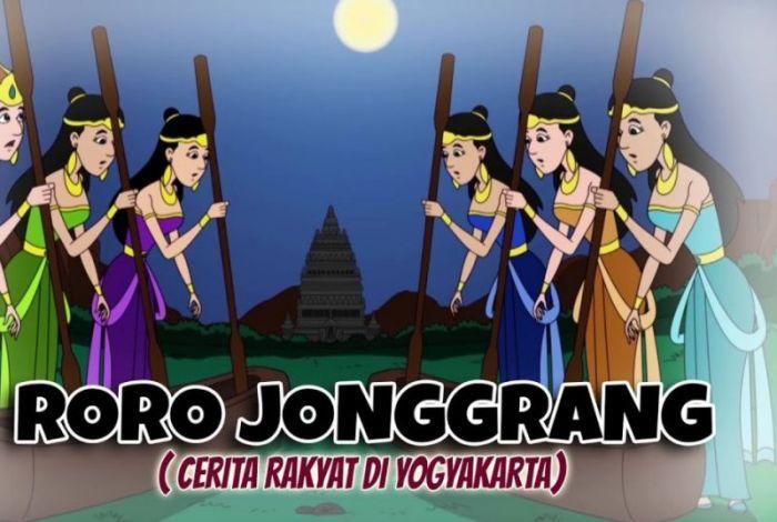 Ilustrasi dayang istana menabuh lesung dalam cerita Roro Jonggrang