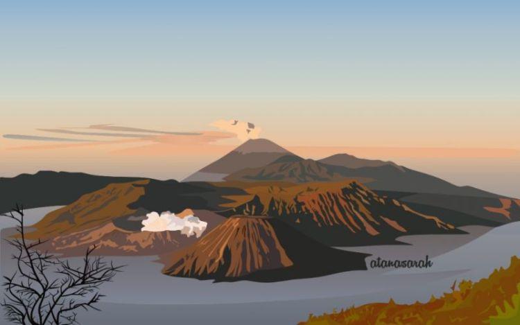 Gambar ilustrasi gunung batok