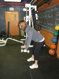 Bent over rows starting position