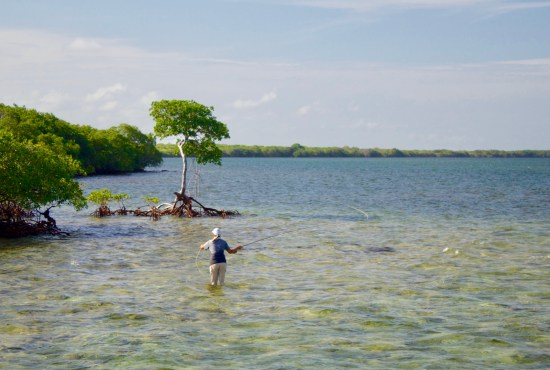 person fly fishing in Florida Keys