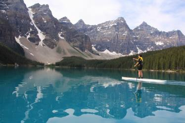 Paddling at Lake Louise on Moraine Lake (a good warm up before tackling the river)