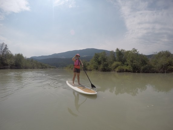 Stand up paddleboarding down the Columbia River