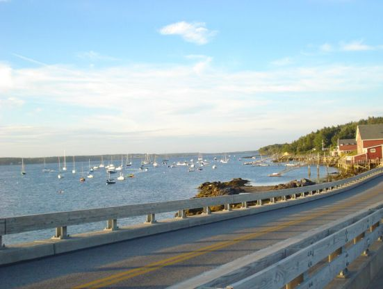 Route 24 on Bailey Island with view of the water and fishing boats