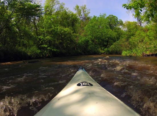 standing waves on the water while in kayak