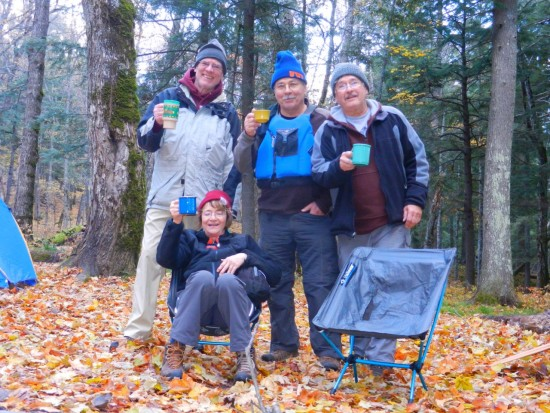 Upper Peninsula Michigan: four campers having happy hour
