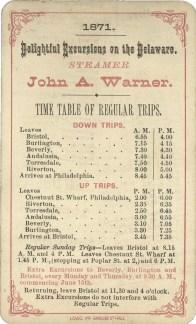 John A. Warner schedule 1871 back eBay miss