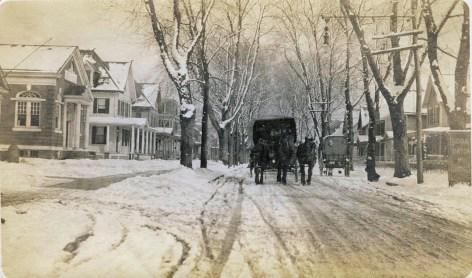 Horse drawn wagon on Main Street, no date PHOTO CREDIT: MARY FLANAGAN