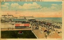 Boardwalk showing Monterey Hotel, Asbury Park, NJ