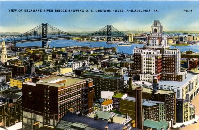 16 Philadelphia Souvenir Folder Ph15 View Of Delaware River Customs House Copy Historical Society Of Riverton Nj