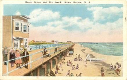 Beach Scene and Boardwalk, Stone Harbor, NJ